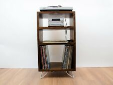 Record Player Tower Stand - Vinyl LP Storage Cabinet Mid Century Industrial