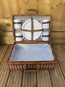 Vintage Wooden Wicker Picnic Basket Set Picnic Set with Plates, Cups etc