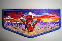OA NAVAJO LODGE 98 OLD BALDY COUNCIL PATCH DARK BLUE BRDR SUNSET RED FLAP