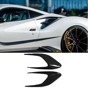 Carbon Fiber Rear Side Splitter spoiler Lip For Ferrari 488 GTB GTS 2015-2018