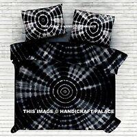 Black Shibori Mandala Duvet Quilt Cover King Size Blanket Indian Tie Dye Bedding