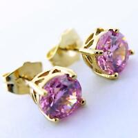 EARRINGS STUDS GENUINE REAL 18K YELLOW G/F GOLD PINK DIAMOND SIMULATED DESIGN