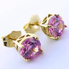 756 GENUINE REAL 18K YELLOW G/F GOLD LADIES PINK DIAMOND SIMULATED STUD EARRINGS