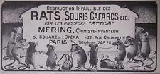 PUBLICITÉ PRESSE 1908 PROCÉDÉS ATTILA DESTRUCTION RATS SOURIS - MÉRING CHIMISTE