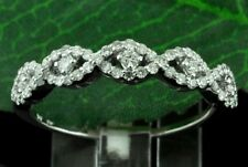 0.45 ct 14k Solid White Gold ladies Natural Diamond Ring Braided Style stylish