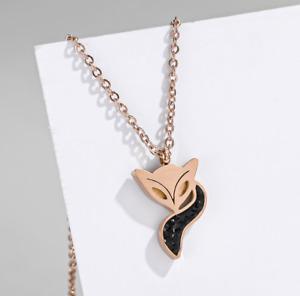 Titanium Rose Gold Love Fox Black/White/Red Pave Cubic Zirconia Pendant Necklace