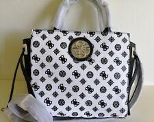 Guess quilted black/white large satchel bag / shoulder bag