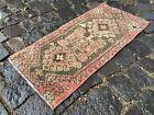 Entryway rug, Doormats, Turkish rug, Handmade rug, Wool, Geometric | 1,0 x 2,2 f