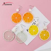 Cute Fashion Women Lemon Earring Fruit Orange Party Dangle Drop Earrings Jewelry