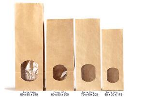 Papiertüten, Blockbodenbeutel mit Fenster inkl Verschlussstreifen 50 bis 250g