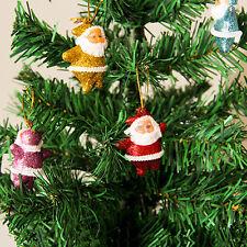 6pcs Mini Père Noël Ornement Suspendu Pour Arbre Sapin de Noël Fête Décoration