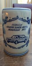 Vtg Delft Blue White Corolla Mug Tankard Stein Toyota Dealer meeting Nov.1979