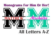 "Split Letter Monogram Varsity Style 3"" Decal Sticker First Last Name Boy Girl"