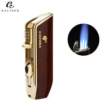COHIBA Metal Triple Torch Flame Pocket Cigar Cigarette Lighter W/ Punch Butane
