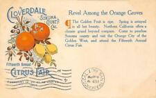 Cloverdale, CA 15th Annual Citrus Fair 1907 Sonoma County Vintage Postcard