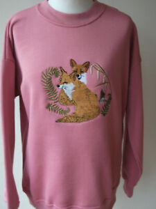 LADIES,WOMENS,LADYS,EMBROIDERED SWEATSHIRTS,TOPS,JUMPER,WITH, A FOX DESIGN PINK