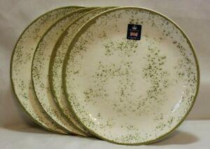 Royal Wessex Greenish Specks on Cream Porcelain Dinner Plates Set of Four New