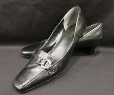 Easy Spirit Leather Upper Women's Black Leather Pumps/Shoes Sz 10M Silver Buckle
