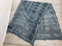 """EUC Oska Blue Geometrical Scarf 78 x 28"""" Cotton Blend Sheer Lightweight & Soft"""