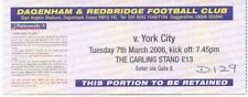 Ticket - Dagenham & Redbridge v York City 07.03.2006