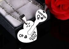 Stainless Steel Match Key Heart  I Love You Men Women Couple Pendant Necklace