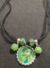 Ribbon Cord Bottle Cap Bling Charm Necklace Beads Inside Out Disgust Yuck Gross!