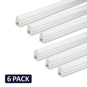 Pack of 6 Barrina LED T5 Integrated Single Fixture, 4FT, 2200lm, 6500K Super and