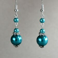 Teal blue green pearls silver dangle earring wedding bridesmaid bridal accessory