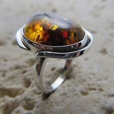 Size 7 3/4, Size P, Size 56, Cognac, Baltic Amber Ring 925 Sterling Silver #0700