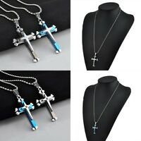 Fashion Unisex's Men Stainless Steel Cross Chain Pendant Necklace Jewelry Gift
