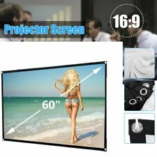 "60"" Inch Projector Projection Screen 16:9 White Matte 3D HD Home Cinema Theater"