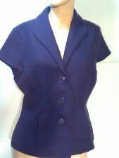 Coldwater Creek shirt size 12 purple wool Blend cap sleeves button down blouse