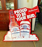 """Vintage Metal Budweiser Sign, """"Proud to be Your Bud,"""" 29"""" x 28"""", Good Condition!"""