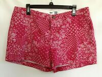 Old Navy Womens Red White Floral Flat Front Slash Pocket Cotton Shorts Size 12