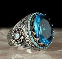 Luxury Blue Aquamarine Stone Turkish Jewelry 925 Sterling Silver Mens Ring Usa