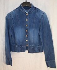 OLD NAVY WOMEN'S Sz S BUTTON Mid Tone DENIM BLUE JEAN JACKET MANDARIN COLLAR EUC