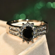2.20Ct Oval Cut Black Diamond Halo Engagement Wedding Ring 14K White Gold Finish