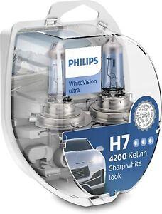 Philips White Vision Ultra Headlight Bulbs H7 12972WVUSM 4200K + 2 X W5W NEW