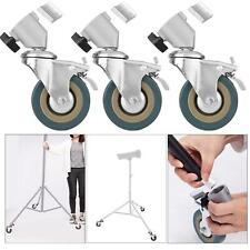 Heavy Duty Rubber Castor Wheels x3 Swivel Brake Photo Studio Tripod Light Stand