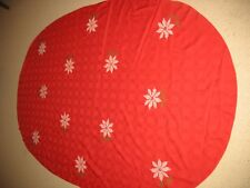 """Vintage Red Oval tablecloth with handstiched White Poinsettias 56"""" X 88"""""""
