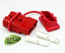 """Big Red Anderson Connector With 1/0 Gauge Contacts And Dust Cover, 175A, 3""""X2""""X1"""