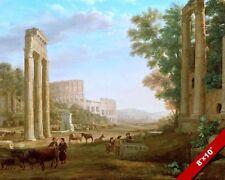 ANCIENT ROMAN RUINS COLOSSEUM ROME ITALY LANDSCAPE PAINTING ART CANVASPRINT