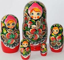 Matrioska bambole in legno con fragole rosse babuska russo matryoshka sets 5pc