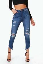 Boohoo Casey Cut Hem Distressed Skinny Jeans Blue Size UK 12 rrp £25 DH079 CC 30