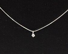 Collana Girocollo in oro bianco 18 kt con diamante punto luce ct 0,14
