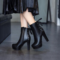 Women Platform Block High Heels Zip Ankle Boots Lace Up Round Toe Solid Shoes Sz