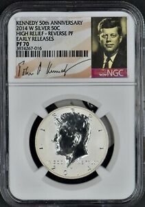 2014 W SILVER HIGH RELIEF Kennedy Half Dollars NGC PF70 -Coingiants