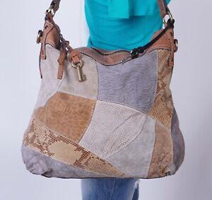 FOSSIL Lrg Multicolor Suede Crocco Leather Shoulder Hobo Tote Satchel Purse Bag