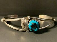Vintage Southwest Sterling Silver Chunky Turquoise Leaf Accent Cuff Bracelet