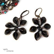 Blumen-MESSING-Ohrringe, Bronze-Vintage-Look, 0571